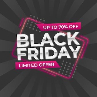 Black friday sale. banner, lila glühfarbe auf dunklem hintergrund