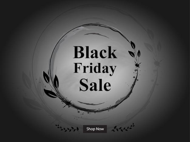 Black friday sale banner mit blumenrahmen