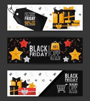 Black friday sale banner mit bündel von karten