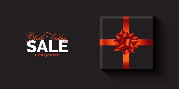 Black friday sale banner mit einem luxuriösen geschenkdesign