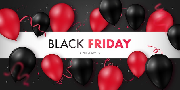 Black friday sale banner mit glänzenden schwarzen und roten luftballons.