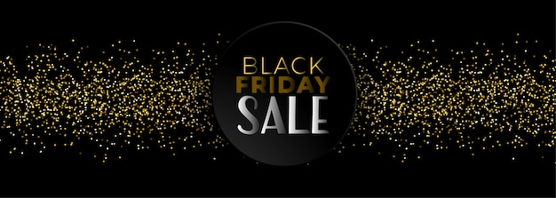 Black friday sale banner mit goldenen glitzer