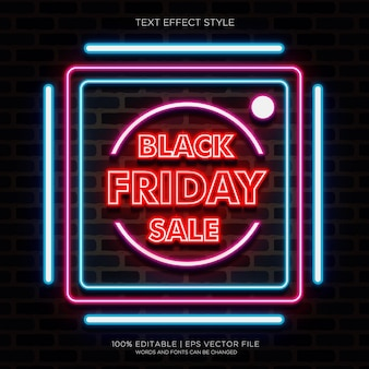 Black friday sale banner mit neon-texteffekten