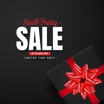 Black friday sale banner mit realistischer geschenkbox