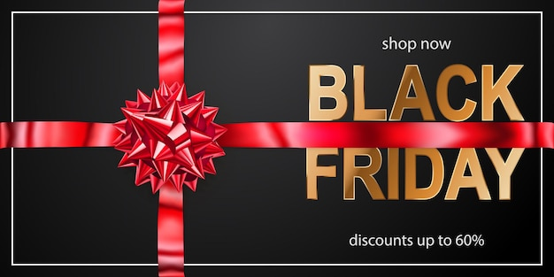Black friday sale banner mit roter schleife und bändern auf dunklem hintergrund. vektorillustration für poster, flyer oder karten.