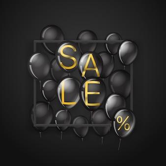 Black friday sale banner mit schwarzen luftballons mit goldenen buchstaben.