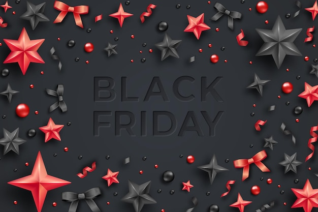 Black friday sale banner mit serpentin, bällen, sternen und bändern. schwarzer freitag verkauf