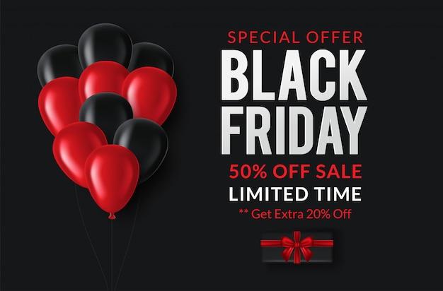 Black friday sale. banner, plakat auf dunkel