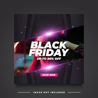 Black friday sale banner vorlage im eleganten stil