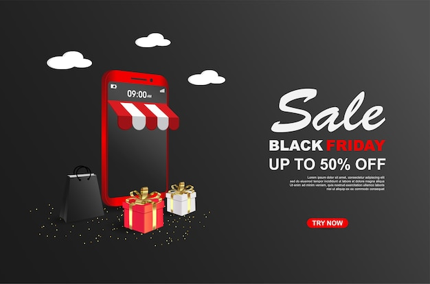 Black friday sale banner vorlage mit handy