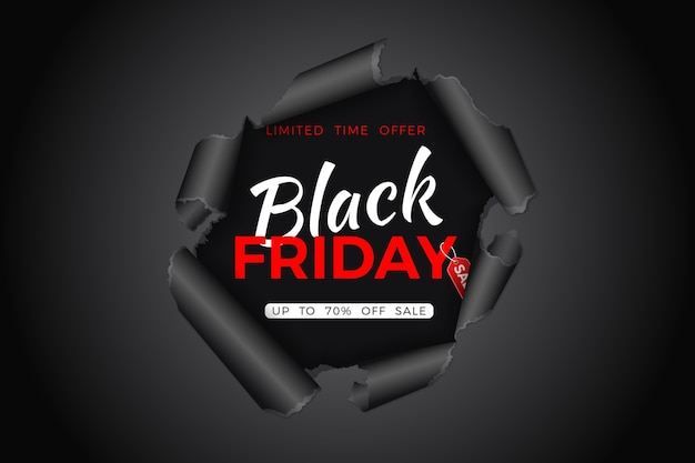 Black friday sale banner. zerrissenes loch im papier mit schwarzem freitag-tag. flyer für blackfriday sale. illustration