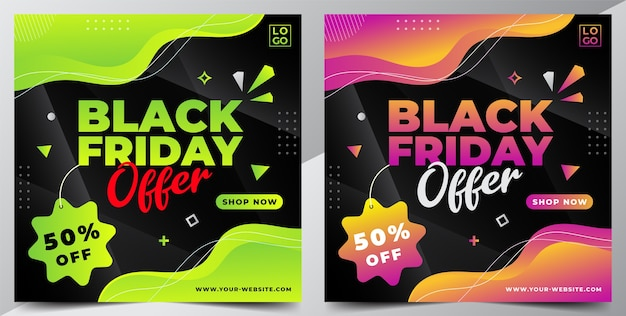 Black friday sale design banner vorlage für social media post