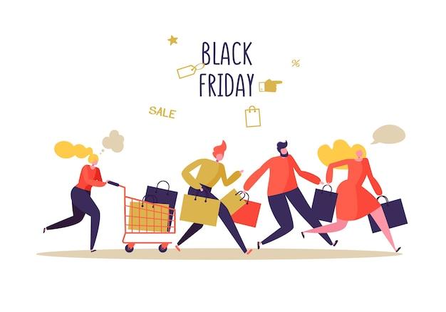 Black friday sale event. flat people charaktere mit einkaufstüten