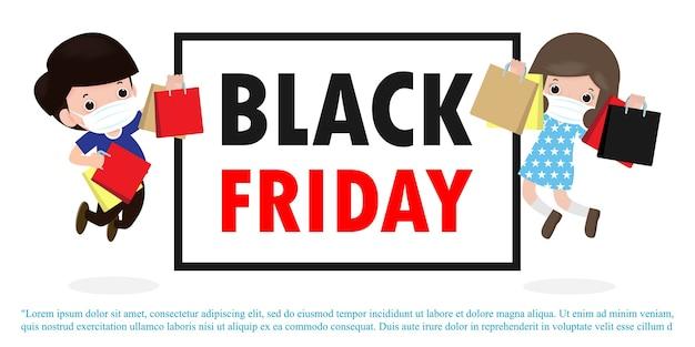 Black friday sale event menschen charaktere cartoon mit einkaufstasche, neuer normaler einkaufslebensstil mit coronavirus schützen oder covid-19 werbeplakat banner big discount promo concept vektor
