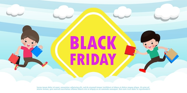 Black friday sale event menschen charaktere cartoon mit einkaufstasche springen auf himmel und wolke, werbeplakat banner big discount promo konzept isoliert hintergrund