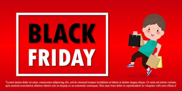 Black friday sale event menschen charaktere cartoon mit einkaufstasche, werbeplakat banner big discount promo concept isoliert auf rotem hintergrund