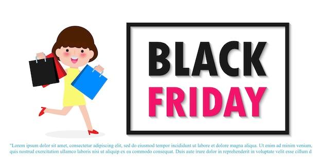 Black friday sale event menschen charaktere cartoon mit einkaufstasche, werbeplakat banner big discount promo concept isoliert auf weißem hintergrund
