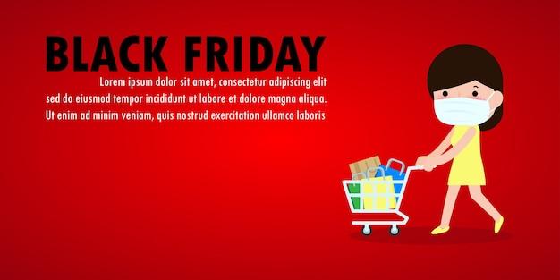 Black friday sale event menschen charaktere cartoon mit einkaufswagen, neuer normaler einkaufslebensstil mit coronavirus schützen oder covid-19 werbeplakat banner big discount promo concept vektor