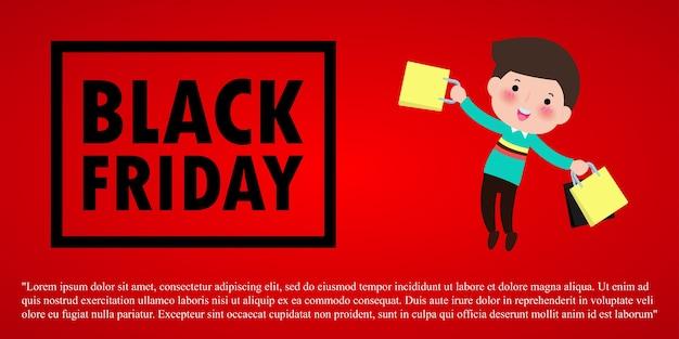 Black friday sale event people charaktere cartoon mit einkaufstasche, werbeplakat banner big discount promo concept isoliert auf rotem hintergrund illustration
