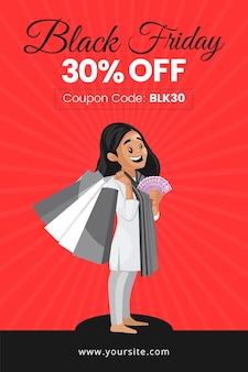 Black friday sale flyer design mit mädchen, das geld und einkaufstaschen hält
