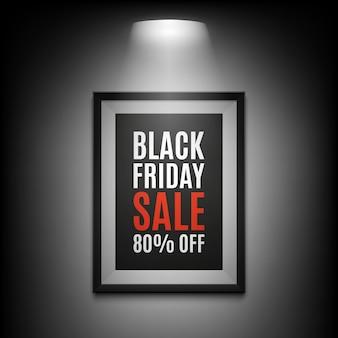 Black friday sale hintergrund. beleuchteter bilderrahmen auf schwarzem hintergrund. illustration.
