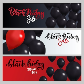 Black friday sale horizontale banner set. fliegende glänzende luftballons mit handgezeichneter pinselschrift.