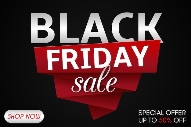 Black friday sale inschrift designvorlage. schwarzer freitag banner mit rotem band. vektorillustration