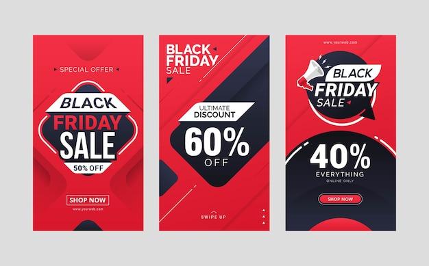 Black friday sale instagram geschichten post template design sammlung