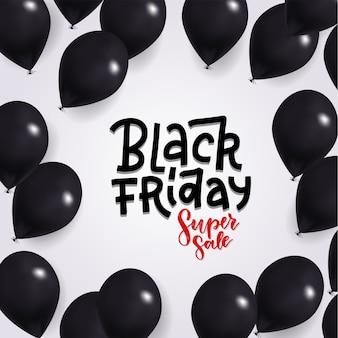 Black friday sale mit glänzenden schwarzen luftballons. handgezeichneter schriftzugstext.