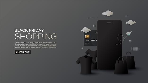 Black friday sale mit online-shopping-nuancen bei nacht