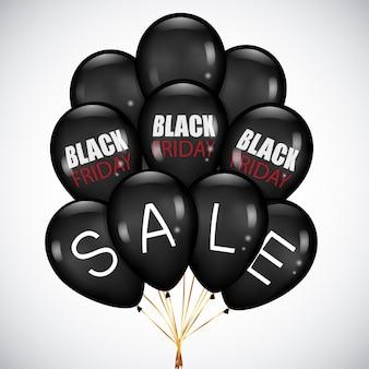 Black friday sale mit realistischen schwarzen luftballons