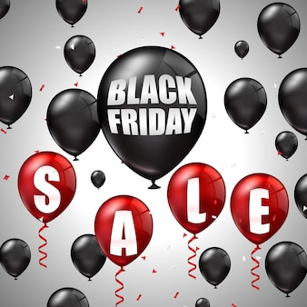 Black friday sale mit schwarzen und roten ballons und rabatten