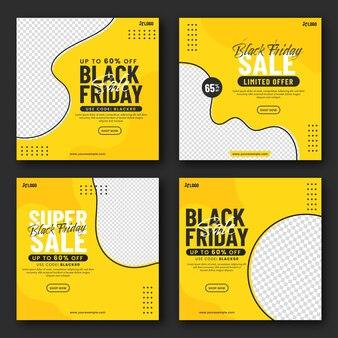 Black friday sale post oder template design mit platz für text oder produkt in vier optionen.