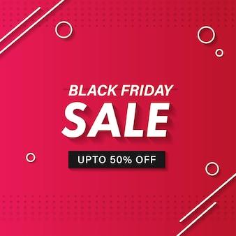 Black friday sale poster design mit 50% rabatt auf rosa gepunkteten hintergrund.