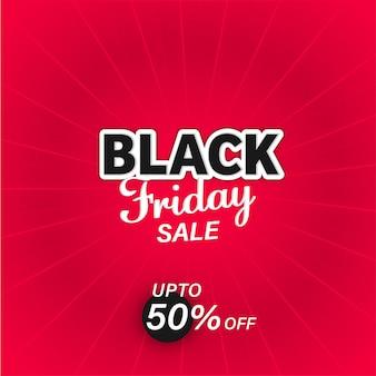 Black friday sale poster design mit 50% rabatt auf rote strahlen hintergrund.