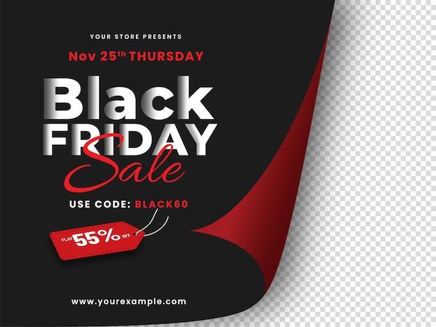 Black friday sale poster design mit 55% rabatt tag auf papier curl png hintergrund.