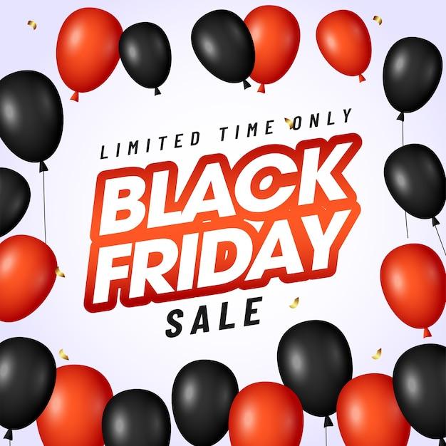 Black friday sale poster design mit glänzenden luftballons verziert