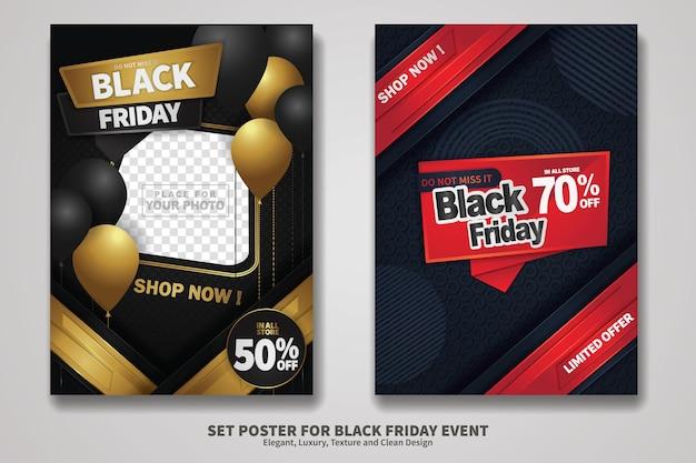 Black friday sale poster-design-set mit hintergrundtextur, elegantem, luxuriösem und sauberem design. vektor-illustration.
