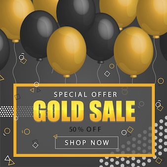 Black friday sale poster mit glänzenden luftballons auf dunklem hintergrund mit goldener, glitzernder schrift und rahmen. vektor-illustration. schwarzer verkaufshintergrund.
