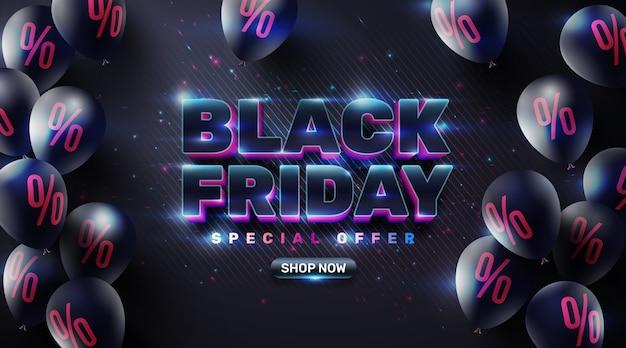 Black friday sale poster mit schwarzen luftballons für einzelhandel, shopping oder black friday promotion im funkelnden und neonlichtfarbenen stil. kreativ leuchtendes social media banner design.