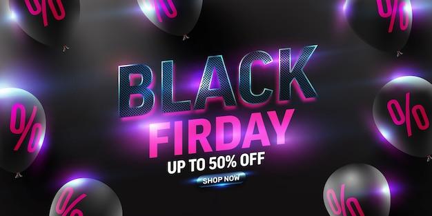 Black friday sale poster mit schwarzen luftballons und neonlicht für den einzelhandel