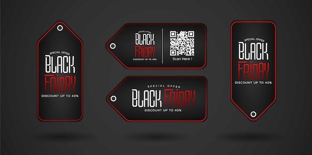 Black friday sale preisschild design mit schwarzem hintergrund.