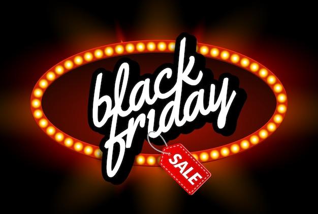 Black friday sale rahmen design vorlage. schwarzer freitag rabatt retro banner mit leuchtreklame lichtrahmen.
