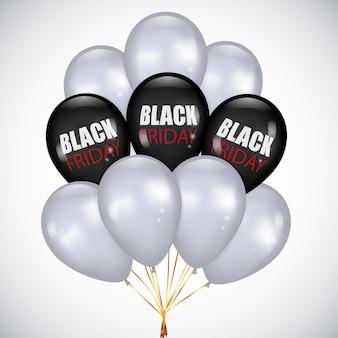 Black friday sale realistische haufen schwarz-weiß-luftballons