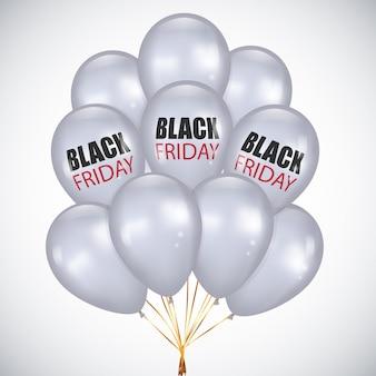 Black friday sale realistische haufen weiße luftballons
