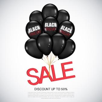 Black friday sale realistische schwarze luftballons