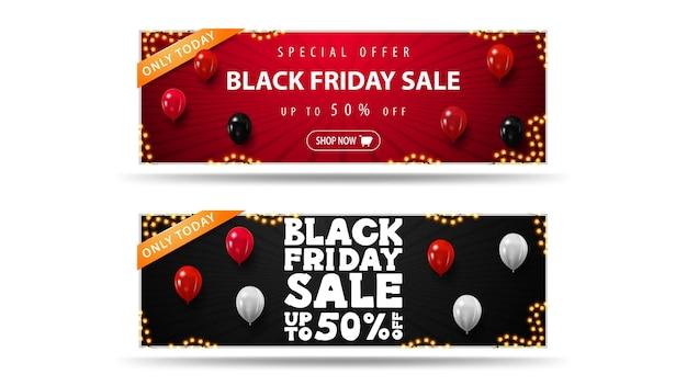 Black friday sale, rote und schwarze horizontale rabattbanner mit luftballons
