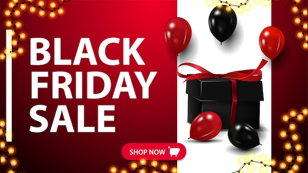Black friday sale, rotes banner mit großer verzierter weißer linie auf hintergrund, knopf, girlandenrahmen, geschenk und luftballons.