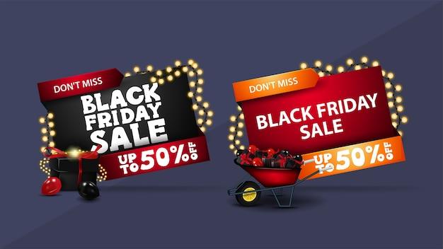 Black friday sale, satz von rabatt-3d-banner in geometrischen formen mit 3d-symbolen