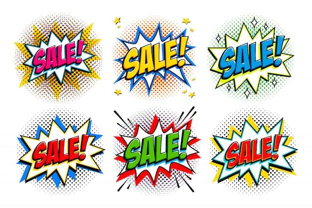 Black friday sale set. comic-stil vorlage banner. 4 verkaufsinschriften auf schwarzem und rotem hintergrund.